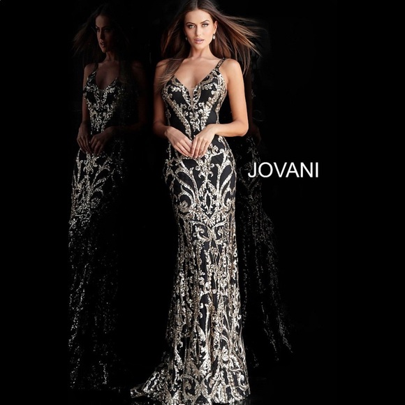 Jovani Dresses & Skirts - JOVANI 63350 Plunging Neck Fitted Embellished Gown